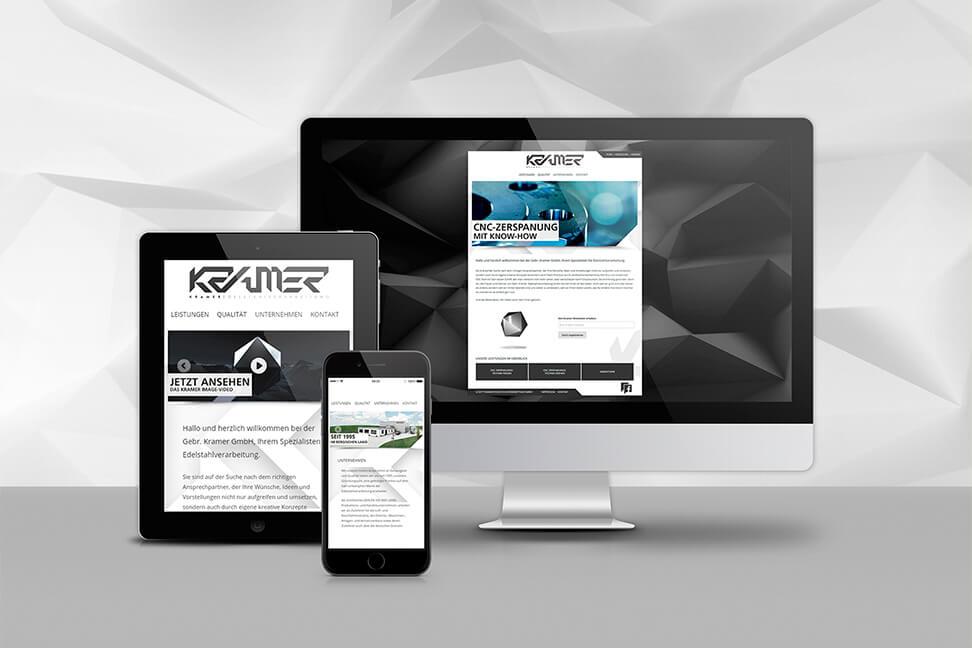 Internetpage-Lindlar für den Kunden Kramer-Edelstahl - umgesetzt von der Agentur David Bock Marketing und Design aus Nordrhein-Westfalen