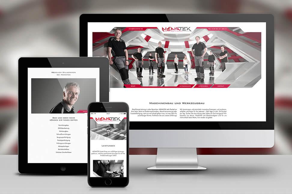 Internetseite-MEMATEK - entwickelt und umgesetzt von der Agentur David Bock Marketing und Design aus Nordrhein - Westfalen in Attendorn
