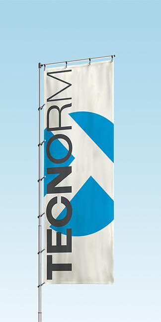 Printdesign-Fahne für die TECNORM GmbH & Co. KG erstellt von der Agentur David Bock Marketing und Design, Attendorn